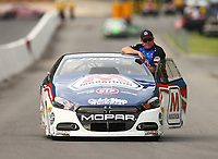Jun 17, 2017; Bristol, TN, USA; NHRA pro stock driver Allen Johnson during qualifying for the Thunder Valley Nationals at Bristol Dragway. Mandatory Credit: Mark J. Rebilas-USA TODAY Sports