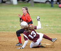 Palmyra's Becky Lake #5 forces out Riverside's Emily Hubbs #13 at second base in the 6th inning Saturday April 30, 2016 at Riverside High School in Riverside, New Jersey.  (Photo by William Thomas Cain)