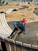 NWA Democrat-Gazette/BEN GOFF @NWABENGOFF<br /> Treyton Wells, 8, of Bella Vista rides on the skills lines Saturday, Feb. 9, 2019, at the Runway Bike Park at the Jones Center in Springdale. The bike playground and pump track at the park opened in late September, but the skills lines were delayed in opening until today due to weather and drainage issues.