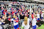 Stockholm 2015-03-13 Bandy SM-final herrar Sandvikens AIK - V&auml;ster&aring;s SK :  <br /> Karebys spelare jublar med SM-pokalen och Karebys supportrar efter matchen mellan Sandvikens AIK och V&auml;ster&aring;s SK <br /> (Foto: Kenta J&ouml;nsson)<br /> Nyckelord:  SM SM-final final Bandyfinal Bandyfinalen Dam Damer Dambandy AIK Kareby IS jubel gl&auml;dje lycka glad happy