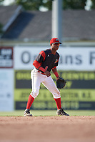 Batavia Muckdogs shortstop Marcos Rivera (8) during a game against the West Virginia Black Bears on June 25, 2017 at Dwyer Stadium in Batavia, New York.  Batavia defeated West Virginia 4-1 in nine innings of a scheduled seven inning game.  (Mike Janes/Four Seam Images)