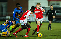 Fleetwood Town's Paddy Madden and Jordy Hiwula come away with the ball during a midfield tussle<br /> <br /> Photographer Alex Dodd/CameraSport<br /> <br /> The EFL Sky Bet League One - Fleetwood Town v Shrewsbury Town - Tuesday 13th February 2018 - Highbury Stadium - Fleetwood<br /> <br /> World Copyright &copy; 2018 CameraSport. All rights reserved. 43 Linden Ave. Countesthorpe. Leicester. England. LE8 5PG - Tel: +44 (0) 116 277 4147 - admin@camerasport.com - www.camerasport.com