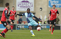 Myles Weston of Wycombe Wanderers takes a shot at goal during the Sky Bet League 2 match between Morecambe and Wycombe Wanderers at the Globe Arena, Morecambe, England on 29 April 2017. Photo by Stephen Gaunt / PRiME Media Images.