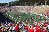 The Ohio State Marching Band forms the script Cal before the NCAA football game at Memorial Stadium in Berkeley, California,  Saturday afternoon, September 14, 2013. As of half time the Ohio State Buckeyes led the California Golden Bears 31 - 20. (The Columbus Dispatch / Eamon Queeney)