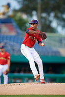 State College Spikes starting pitcher Diego Cordero (11) delivers a pitch during a game against the West Virginia Black Bears on August 30, 2018 at Medlar Field at Lubrano Park in State College, Pennsylvania.  West Virginia defeated State College 5-3.  (Mike Janes/Four Seam Images)
