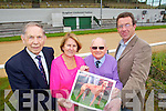 Pictured at the launch of an auction of a Greyhound to raise funds for the Towers SVP Friendship Centre in Ballybunion which takes place on Friday 5th August at the Kingdom Greyhound Stadium, from Left: Kevin Lynch, Treasurer, Bridget O'Shea, Chairperson, Emmett Kennelly, Secretery and Declan Dowling, Sales and marketing Manager Kingdom Greyhound Stadium.