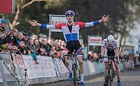 Mathieu Van der Poel (NED/Beobank-Corendon) wins the race in a sprint against Kevin Pauwels (BEL/Marlux - Napoleon Games) & Laurens Sweeck (BEL/Era-Circus)<br /> <br /> men's race<br /> CX Soudal Classics Leuven/Belgium 2017