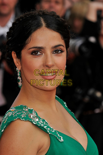 "SALMA HAYEK.""Indiana Jones and the Kingdom of the Crystal Skull"" film premiere arrivals at Palais de Festival.61st Cannes International  Film Festival, France.18th May 2008 .portrait headshot  plaits braids braided hair sequel 4 IV green earrings emeralds .CAP/PL.© Phil Loftus/Capital Pictures"