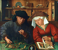 Paintings:  Quentin Metsys (1465-1530)--Le preteur et sa femme, 1514.   Louvre.  Reference only.