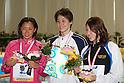 (L to R) Hanae Ito, Tomoko Hagiwara, Rina Oshikawa, FEBRUARY 11, 2012 - Swimming : The 53rd Japan Swimming Championships (25m) Women's 50m Freestyle Victory Ceremony at Tatsumi International Swimming Pool, Tokyo, Japan. (Photo by YUTAKA/AFLO SPORT) [1040]