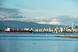 CANADA, Vancouver, British Columbia, looking over the Straight of Georgia towards the city of Vancouver from Spanish Banks Beach Park