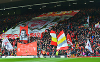 General View of Liverpool fans and flags on the Kop <br /> <br /> Photographer Richard Martin-Roberts/CameraSport<br /> <br /> The Premier League - Liverpool v Chelsea - Sunday 14th April 2019 - Anfield - Liverpool<br /> <br /> World Copyright © 2019 CameraSport. All rights reserved. 43 Linden Ave. Countesthorpe. Leicester. England. LE8 5PG - Tel: +44 (0) 116 277 4147 - admin@camerasport.com - www.camerasport.com
