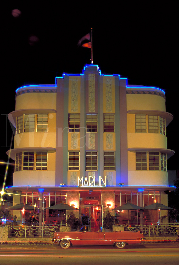 Most popular site; rounded corners, eyebrows; neon lighting; Arch - L. Murray Dixon, 1939. Collins Ave + 12 ST., M. Beach FL USA.