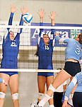 SIOUX FALLS, SD - SEPTEMBER 5:  Jessica Mieras #22 and Lauren Witte #13 from O'Gorman look for a block on Kristin Nassen #3 from Lincoln in the second game of their match Thursday night at O'Gorman.  (Photo by Dave Eggen/Inertia)