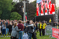 Wales fans celebrate their side's first goal at the Cardiff Fanzone during the Euro 2016 quarter final between Wales and Belgium , Cardiff, Wales on 1 July 2016. Photo by Mark  Hawkins/PRiME Media Images.