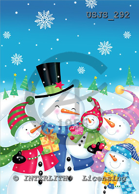 Janet, CHRISTMAS SANTA, SNOWMAN, paintings, USJS292,#x# Weihnachtsmänner, Schneemänner, Weihnachen, Papá Noel, muñecos de nieve, Navidad, illustrations, pinturas