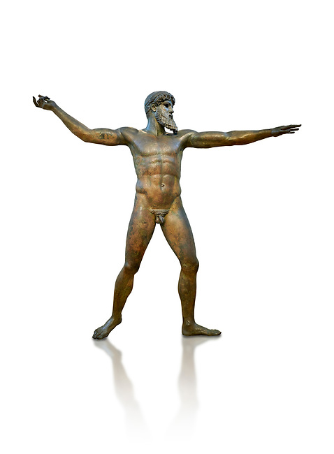 Early classical ancient Greek bronze statue of Zeus or Poseidon, circa 450 BC. Athens National Arcjaeological Museum, cat no X15161, White background<br /> <br /> This bronze statue was found in the sea off Cape Artemision in northern Euobea. Zeus or Poseidon is shown making a great stride. His lefy arm is extended forward and his righy arm extends back which would have held a thunderbolt, if Zeus, or a trident if Poseidon. The identification of the statue is controversial though it ios more likely Zeus. <br /> <br /> It is one of the few preserved original statues of Severe Style, notable for the exuisite rendering of motion and anatomy. Iy is certainly the work of a great sculptor of the early ancient Greek Classical period