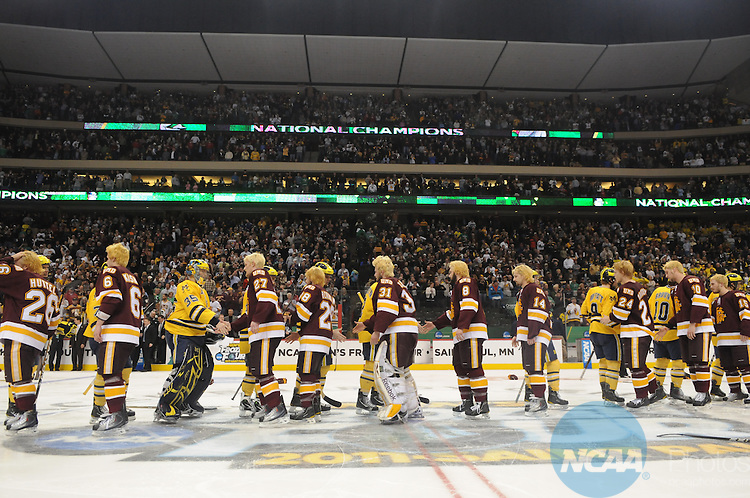 09 APR 2011: The University of Michigan takes on the University of Minnesota Duluth during the Division I Men's Ice Hockey Championship held at the Xcel Energy Center in St. Paul, MN.  Minnesota-Duluth beat Michigan 3-2 in overtime to claim the national title.  Vince Muzik/ NCAA Photos