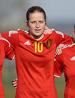 20150307 - TUBIZE , BELGIUM : Belgian Charlotte Van Ishoven pictured during the friendly female soccer match between Women under 19 teams of  Belgium and Czech Republic . Saturday 7th March 2015 . PHOTO DAVID CATRY