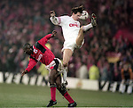 Kevin Campbell of Nottingham Forest and Marcus Babbel of Bayern Munich - UEFA Cup - quarter final 2nd leg - Nottingham Forest v Bayern Munich - City Ground - Nottingham - England - 19th March 1996 - Picture Simon Bellis/Sportimage
