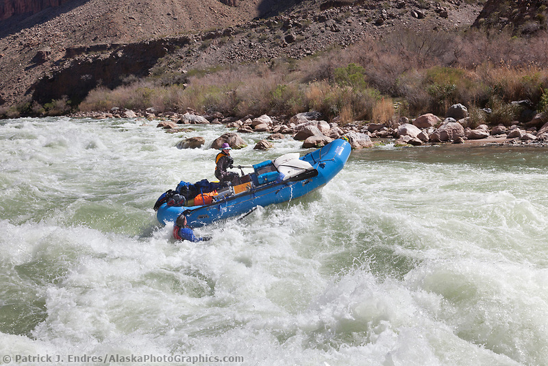 Whitewater rafting Lava rapids on the Colorado river in the Grand Canyon National Park, Arizona