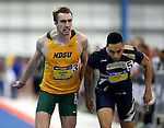 BROOKINGS, SD - FEBRUARY 25:  Landon Jochim from North Dakota State University battles to the finish line with D'Khari Hicks from Oral Roberts University in the men's 400 meter dash at the 2017 Summit League Indoor Track and Field Championship Saturday afternoon in Brookings, SD. (Photo by Dave Eggen/Inertia)