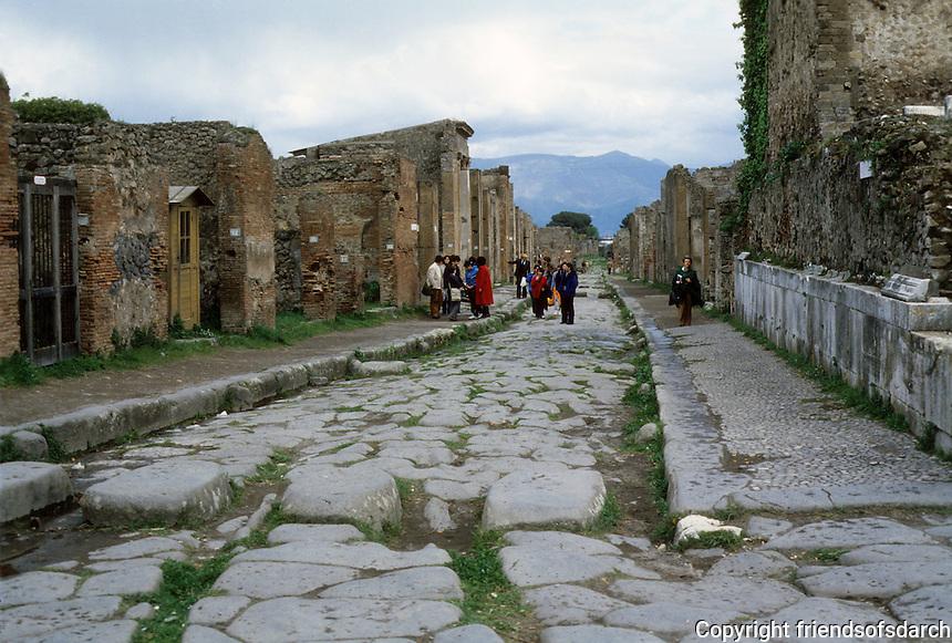 Italy: Pompeii--Strada Dell Abondaza from Forum. Photo '83.