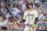 Michigan Wolverines outfielder Jesse Franklin (7) walks back to the dugout against the Vanderbilt Commodores during Game 1 of the NCAA College World Series Finals on June 24, 2019 at TD Ameritrade Park in Omaha, Nebraska. Michigan defeated Vanderbilt 7-4. (Andrew Woolley/Four Seam Images)
