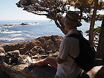 Man hiking at Point Lobos State Reserve