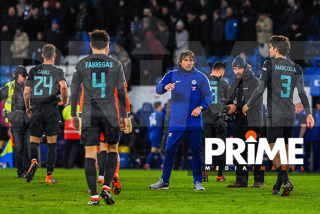 Chelsea manager Antonio Conte waits for Marcu Alonso during the FA Cup QF match between Leicester City and Chelsea at the King Power Stadium, Leicester, England on 18 March 2018. Photo by Stephen Buckley / PRiME Media Images.