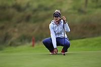 Nelly Korda (USA) on the 1st green during Day 3 Singles at the Solheim Cup 2019, Gleneagles Golf CLub, Auchterarder, Perthshire, Scotland. 15/09/2019.<br /> Picture Thos Caffrey / Golffile.ie<br /> <br /> All photo usage must carry mandatory copyright credit (© Golffile | Thos Caffrey)
