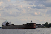 The Paul R. Tregurtha, of the Interlake Steamship Co. heads north on the St. Clair River passing Sarnia and Port Huron.