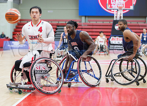 03.07.2016. Leicester Sports Arena, Leicester, England. Continental Clash Wheelchair Basketball, USA versus Japan.  Reo Fujimoto (JPN) catches the ball during the match