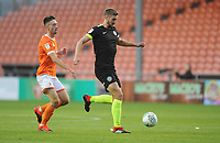 Macclesfield Town's Fiacre Kelleher under pressure from Blackpool's Ryan Hardie<br /> <br /> Photographer Kevin Barnes/CameraSport<br /> <br /> The Carabao Cup First Round - Blackpool v Macclesfield Town - Tuesday 13th August 2019 - Bloomfield Road - Blackpool<br />  <br /> World Copyright © 2019 CameraSport. All rights reserved. 43 Linden Ave. Countesthorpe. Leicester. England. LE8 5PG - Tel: +44 (0) 116 277 4147 - admin@camerasport.com - www.camerasport.com