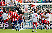 Chivas USA goalkeeper Zach Thornton (22) leaps high for a save on his way to 1st clean sheet and Chivas win on the young season. Chivas USA defeated the Red Bulls of New York 2-0 at Home Depot Center stadium in Carson, California April 10, 2010.  .