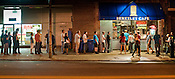 Fans line up outside Berkeley Cafe during the first annual Hopscotch Music Festival in Raleigh, N.C., Thurs., Sept. 9, 2010.
