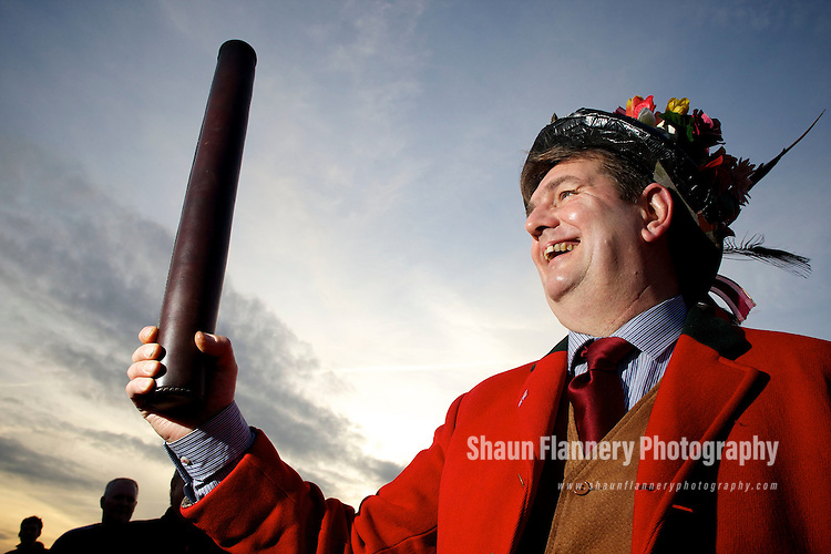 Pix: Shaun Flannery/shaunflanneryphotography.com...COPYRIGHT PICTURE>>SHAUN FLANNERY>01302-570814>>07778315553>>..6th January 2011................The Haxey Hood, a traditional event held in the village of Haxey, North Lincolnshire on the Twelfth Day of Christmas..Lord of the Hood, Phil Coggon