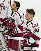 Alexander Kerfoot (Harvard - 14), Devin Tringale (Harvard - 22) - The Harvard University Crimson defeated the Providence College Friars 3-0 in their NCAA East regional semi-final on Friday, March 24, 2017, at Dunkin' Donuts Center in Providence, Rhode Island.