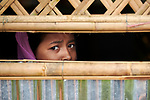 A Rohingya refugee girl looks out from inside a madrassa (an Islamic school) in the sprawling Kutupalong Refugee Camp near Cox's Bazar, Bangladesh. More than 600,000 Rohingya have fled government-sanctioned violence in Myanmar for safety in Bangladesh.