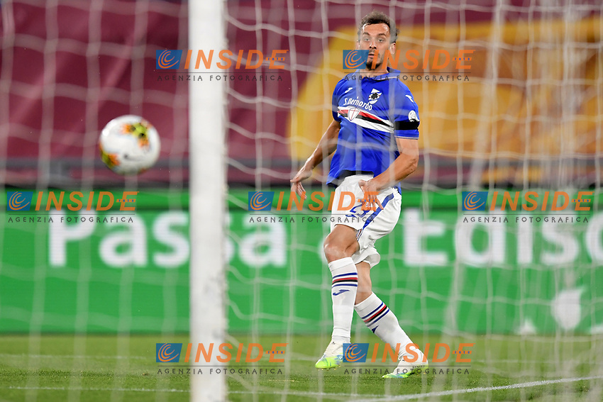 Manolo Gabbiadini of UC Sampdoria scores the goal of 0-1 during the Serie A football match between AS Roma and UC Sampdoria at Olimpico stadium in Rome ( Italy ), June 24th, 2020. Play resumes behind closed doors following the outbreak of the coronavirus disease. AS Roma won 2-1 over UC Sampdoria. <br /> Photo Andrea Staccioli / Insidefoto