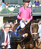 Lexington KY - October 6  Heavenly Love with assistant trainer David Carroll after winning the 66th running of the Darley Alcibiades (Grade 1) for owner Debby Oxley, trainer Mark Casse and jockey Julien Leparoux.  October 6, 2017