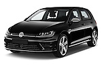 2014 Volkswagen Golf R 5 Door Hatchback 4WD Angular Front stock photos of front three quarter view