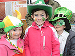 Grace, Stephanie and Juhn Callaghan at the Dunleer St Patrick's day parade. Photo:Colin Bell/pressphotos.ie