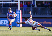 10th February 2019, Belle Vue, Wakefield, England; Betfred Super League rugby, Wakefield Trinity versus St Helens; Jacob Miller of Wakefield Trinity goes past  Dominique Peyroux of St Helens