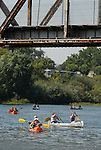 Kayaks and canoes in the Russian River at Healdsburg Memorial Beach