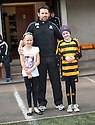 Alloa Manager Paul Hartley welcomes Mackenzie Furniss (right) who suffers from aggressive cancer neuroblastoma who was mascot for the day as part of her heartbreaking appeal to raise cash for her high tech treatment in Germany. She is accompanied by her best friend Carly Watt (left) who is spearheading the fund raising campaign. Mackenzie was the subject of a Lisa Adams feature in The Scottish Sun last week.