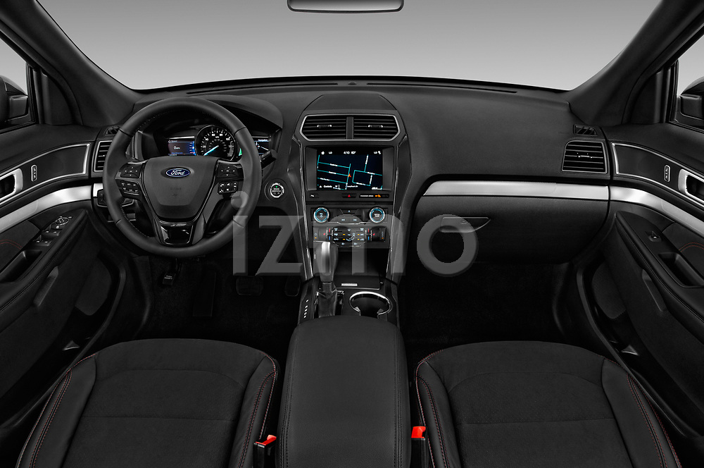 Stock photo of straight dashboard view of a 2019 Ford Explorer XLT 5 Door SUV