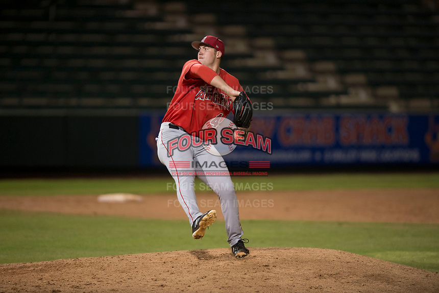 AZL Angels relief pitcher Connor Higgins (44) delivers a pitch during an Arizona League game against the AZL Padres 2 at Tempe Diablo Stadium on July 18, 2018 in Tempe, Arizona. The AZL Padres 2 defeated the AZL Angels 8-1. (Zachary Lucy/Four Seam Images)