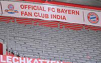 13th June 2020, Allianz Erena, Munich, Germany; Bundesliga football, Bayern Munich versus Borussia Moenchengladbach; A fan banner in the empty stands