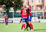Stockholm 2015-07-11 Fotboll Damallsvenskan Hammarby IF DFF - Vittsj&ouml; GIK :  <br /> Vittsj&ouml;s Linda S&auml;llstr&ouml;m friar sitt 0-2 m&aring;l med Kirsty Yallop och lagkamrater under matchen mellan Hammarby IF DFF och Vittsj&ouml; GIK <br /> (Foto: Kenta J&ouml;nsson) Nyckelord:  Fotboll Damallsvenskan Dam Damer Zinkensdamms IP Zinkensdamm Zinken Hammarby HIF Bajen Vittsj&ouml; GIK jubel gl&auml;dje lycka glad happy